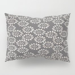 Japanese decorative background with openwork flowers in ocher tones Pillow Sham