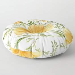 California Poppies - Watercolor Painting Floor Pillow