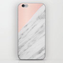 Real Carrara Italian Marble and Pink iPhone Skin