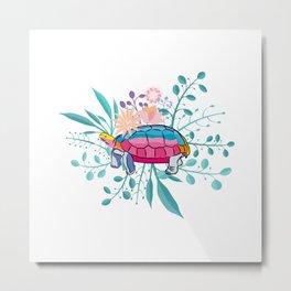 Happy Spring Tortoise Metal Print