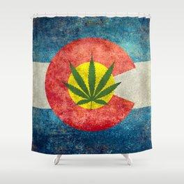 Retro Colorado State flag with leaf - Marijuana leaf that is! Shower Curtain