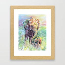Colorful Mother Elephant and Baby Framed Art Print