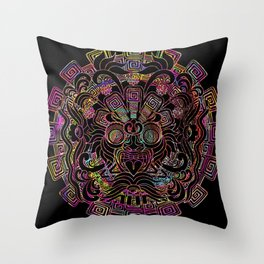 Aztec Sun Psychedelic Mask Throw Pillow