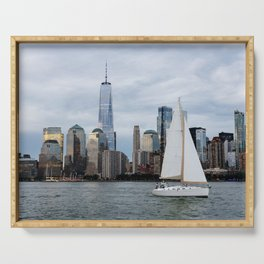 Sailing boat against skyline of New York Serving Tray