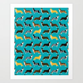 Corgi welsh corgi pattern print cute dog art pattern design pet portrait corgi puppy lovers fur baby Art Print