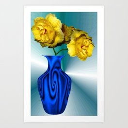 Bllue Wave Vase And Yellow Roses Art Print