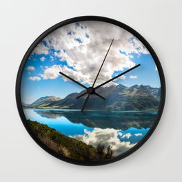 Lake Wakatipu Panorama at Golden Hour Wall Clock
