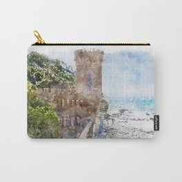 Aquarelle sketch art. Castle near beautiful azure sea and the rocky beach, Tyrrhenian sea in Tuscany, Italy Carry-All Pouch