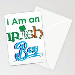 I am an Irish boy St. Patrick's Day Shamrock Flag Gift Shirt Stationery Cards