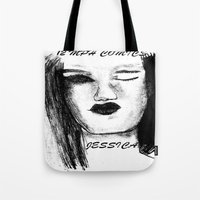 jessica lange Tote Bags featuring Jessica by Evelyn Watkins