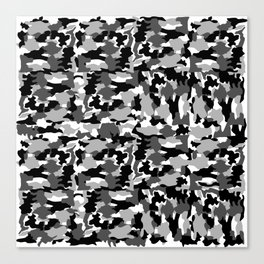 black and white Background Pattern Camo Canvas Print