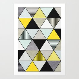Colorful Concrete Triangles 2 - Yellow, Blue, Grey Art Print