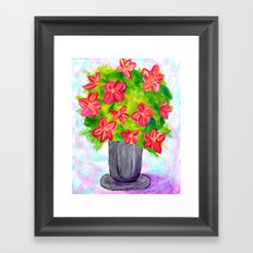 Pewter Vase with Orange Flowers Framed Art Print