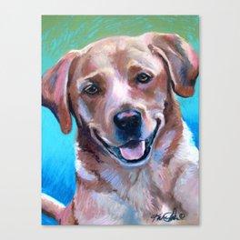 Yellow Lab Pastel Dog Portrait Canvas Print