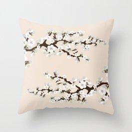 Japanese Sakura Cherry Blossoms (ivory/white) Throw Pillow