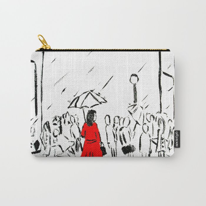 The Girl In The Red Rain Coat (Part 1)  Fine Art Acrylic Painting Carry-All Pouch