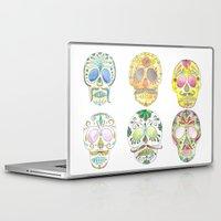 sugar skulls Laptop & iPad Skins featuring Sugar Skulls  by Stephanie Eve
