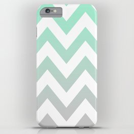 MINT GRAY CHEVRON FADE iPhone Case