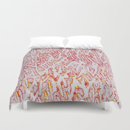 Brushed Red, Yellow, Silver Painting Duvet Cover