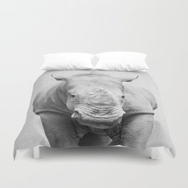 Rhino 2 - Black & White Duvet Cover