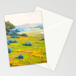A Spring Morning, Poppies and California Bush Lupine by John Marshall Gamble Stationery Cards