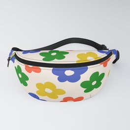 Retro Pattern Primary Rainbow Flowers #pattern #floral #vintage Fanny Pack