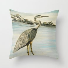 Great Blue Heron in Oil Throw Pillow