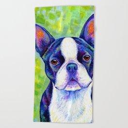 Colorful Boston Terrier Dog Beach Towel
