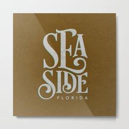 Seaside Typography (Brown) Metal Print
