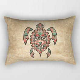 Vintage Red and Green Haida Spirit Sea Turtle Rectangular Pillow