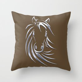 Horse Head Brown  Throw Pillow