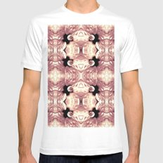 Shiny Old Rose Flower Design, Pattern MEDIUM Mens Fitted Tee White