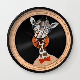 Intelligent giraffe on vinyl Wall Clock