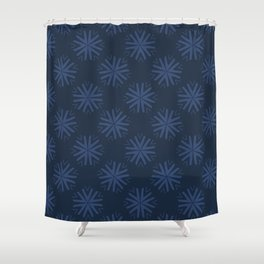 Winter Snow Texture Drawn Starry Snowflake Shower Curtain