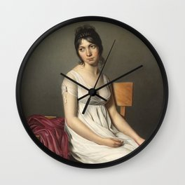 Portrait of a Young Woman in White by Jaques-Louis David Wall Clock