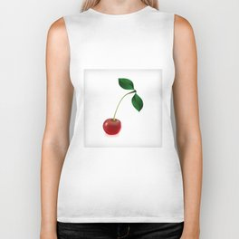 Cherry with leaves and waterdrops Biker Tank