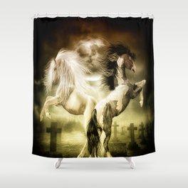 Midnight Stallion Shower Curtain