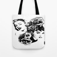 marylin monroe Tote Bags featuring Marylin Monroe and Audrey Hepburn by The Völva Countess