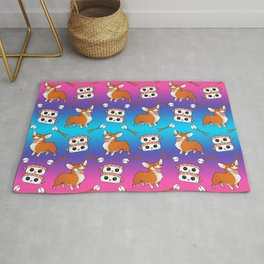 Cute cuddly funny baby corgi dogs, happy cheerful sushi with shrimp on top, rice balls and chopsticks pretty colorful rainbow pattern design. Rug