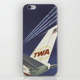 Airplane Jet Vintage Travel Poster Midcentury Colorful Art iPhone Skin