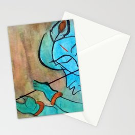 lord krishna blue painting Stationery Cards