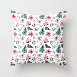 Christmas watercolor pattern. Throw Pillow