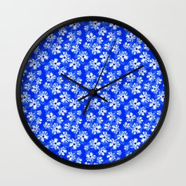 Blue Tropical Flower Pattern Wall Clock