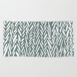 Boho chevron herringbone pattern - moss green and white Beach Towel