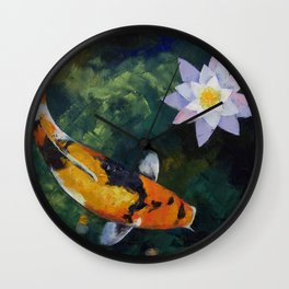 Showa Koi and Water Lily Wall Clock