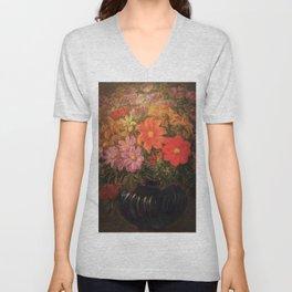 'Flowers in Vase, Night' still life painting by Gaetano Previati Unisex V-Neck