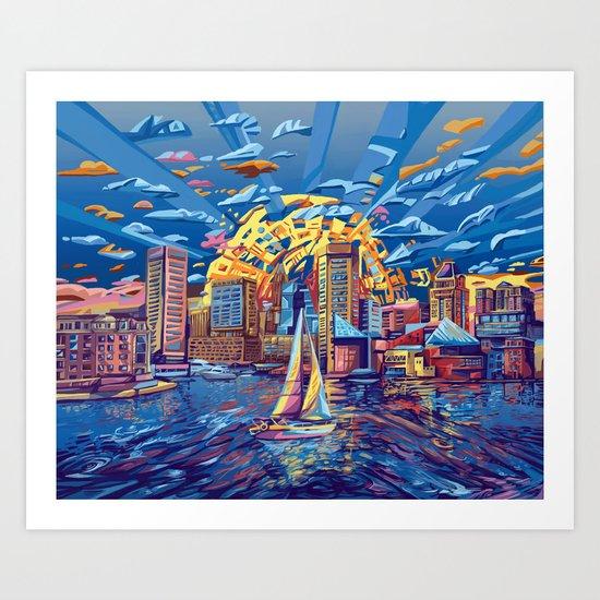 abstract city skyline-baltimore Art Print