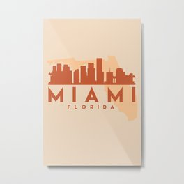 MIAMI FLORIDA CITY MAP SKYLINE EARTH TONES Metal Print
