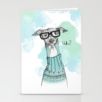 greyhound Stationery Cards featuring Funny Greyhound by Bentje Graumann