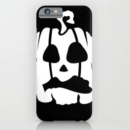 Halloween (pumpkin) seamless repeat pattern in white and black iPhone Case